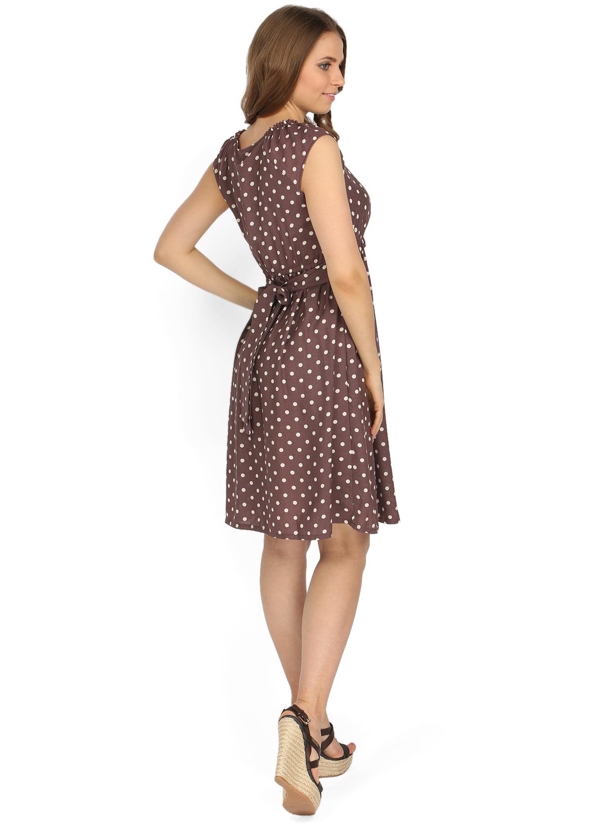 Платье Павлина коричневое в горох для беременных и кормящих. Артикул ... 61b1ab9bbf4